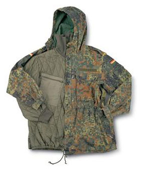 Official German Military Issue Flectarn Camouflage Parka w/Quilted Liner